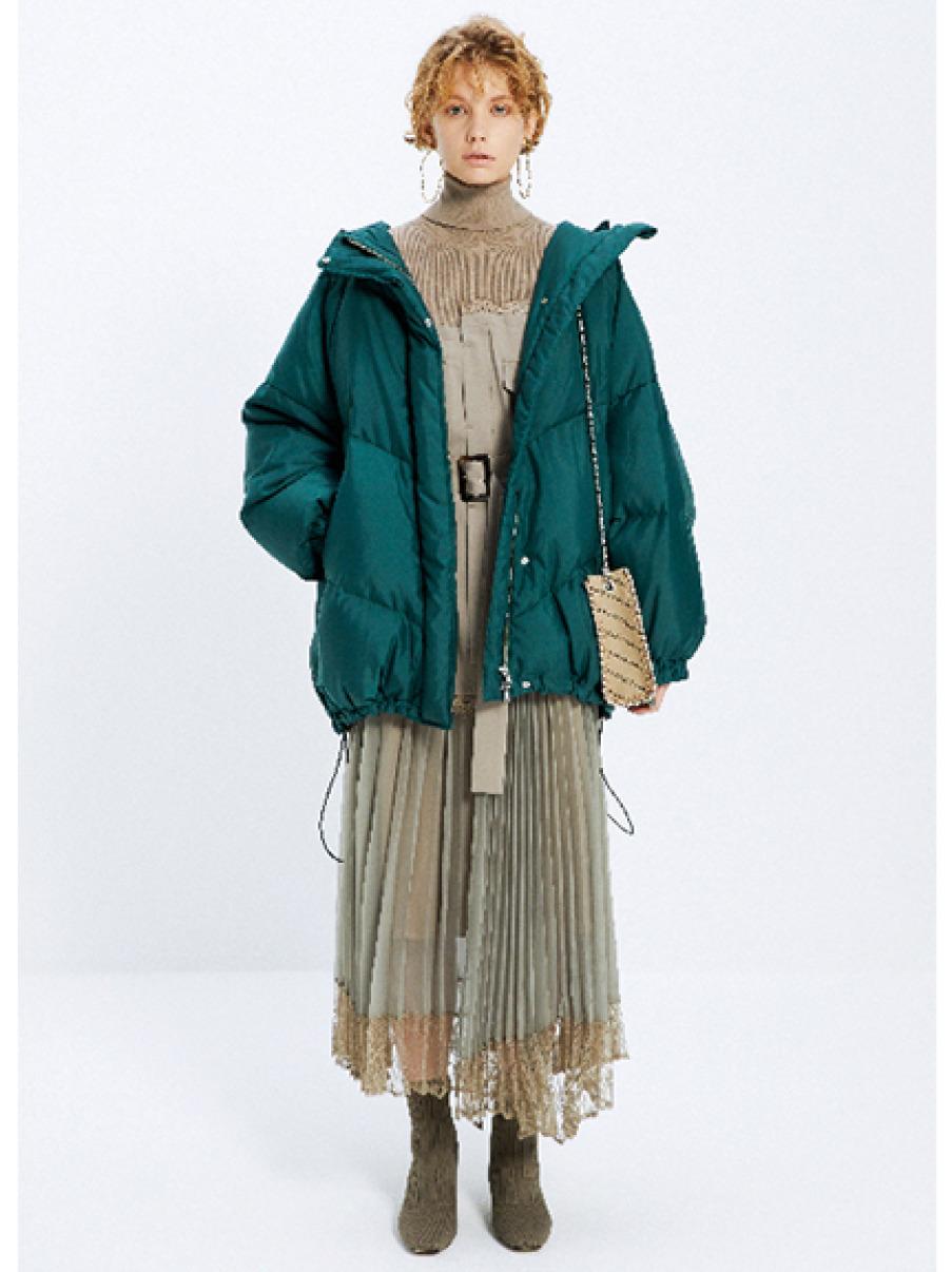 針織拼接風衣式洋裝