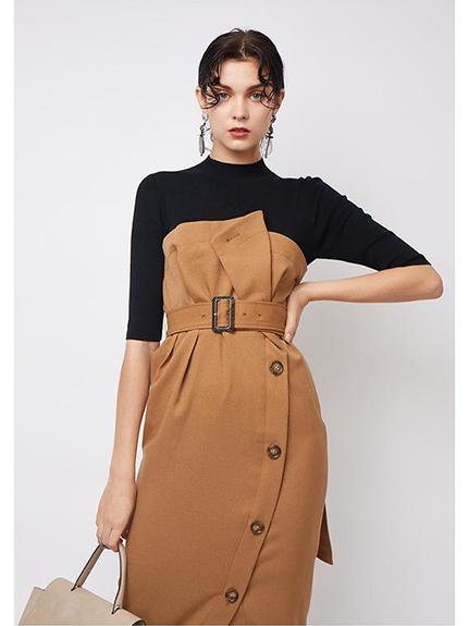 針織上衣拼接連身裙