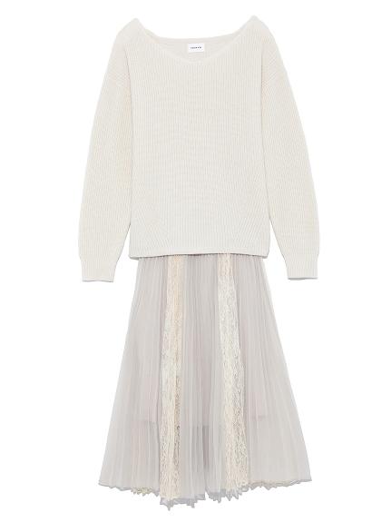 針織x蕾絲紗裙異材質洋裝