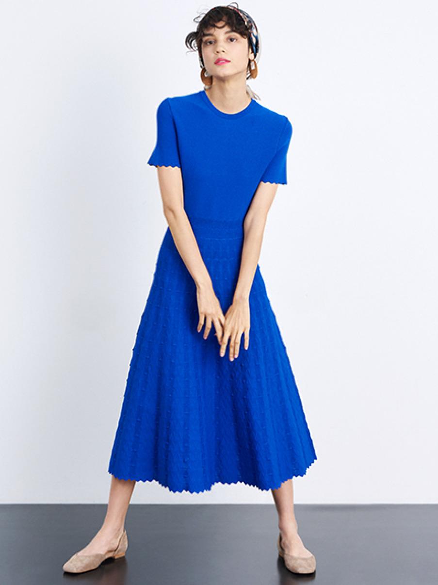 波浪剪裁針織洋裝