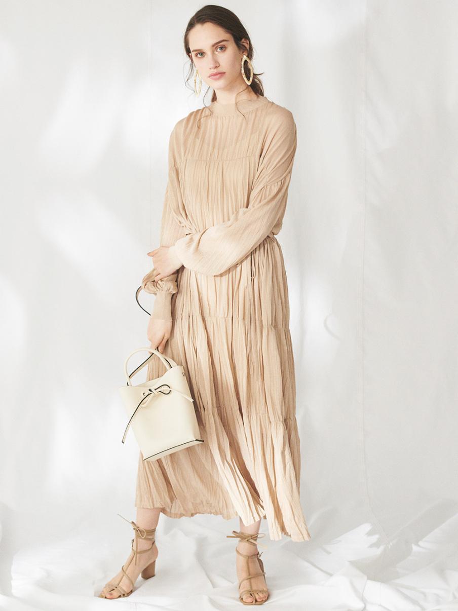 袖口針織百褶連身裙