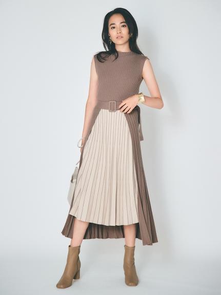 百褶針織連身裙