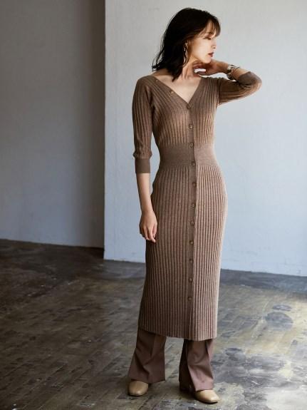 羅紋窄版針織連身裙