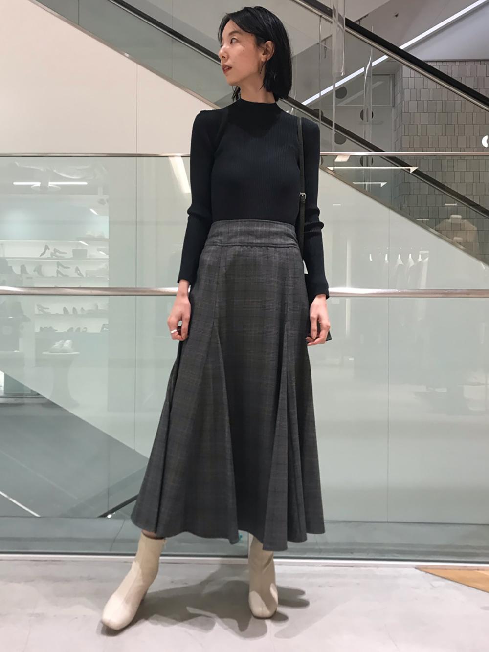 針織拼接格紋連身裙