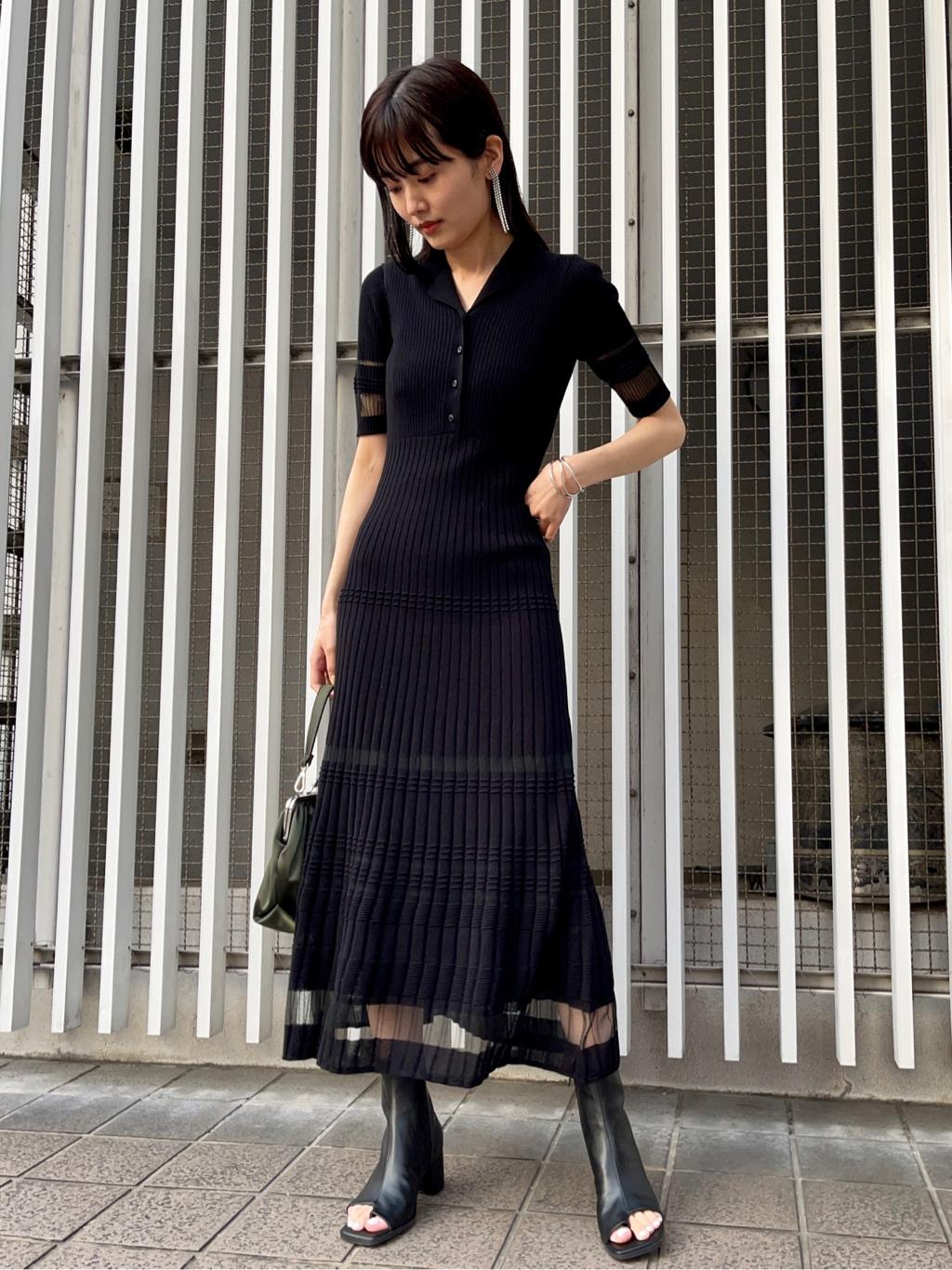 透視條紋針織連身裙
