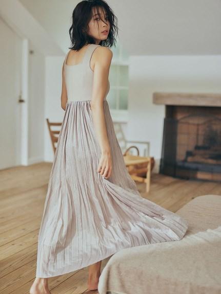水洗細褶針織拼接連身裙