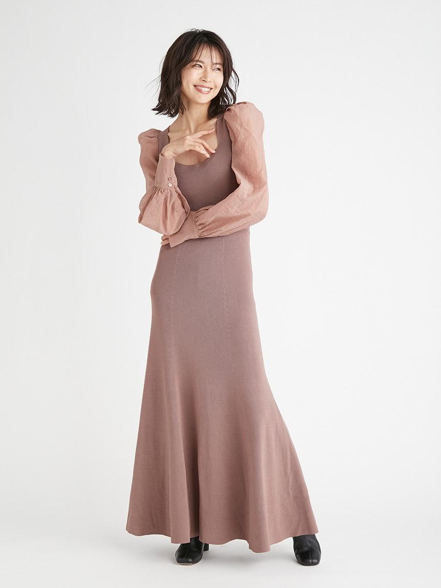歐根紗袖方領針織連身裙