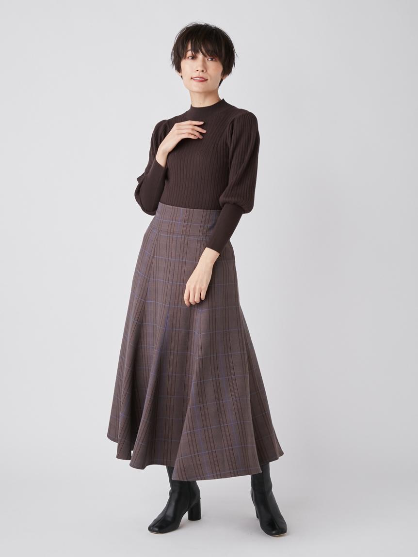 羅紋針織拼接格紋連身裙