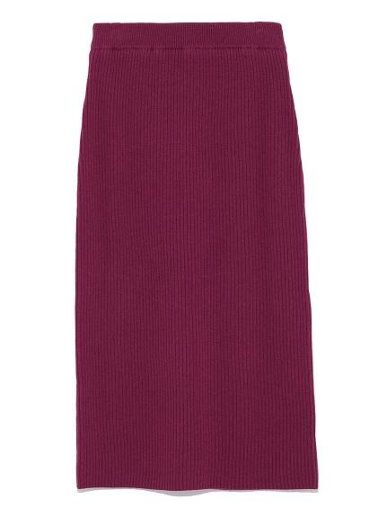 針織開衩中長裙