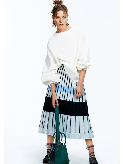 線條百摺撞色長裙