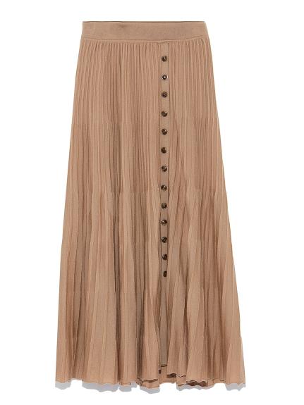 100%羊毛細褶針織長裙