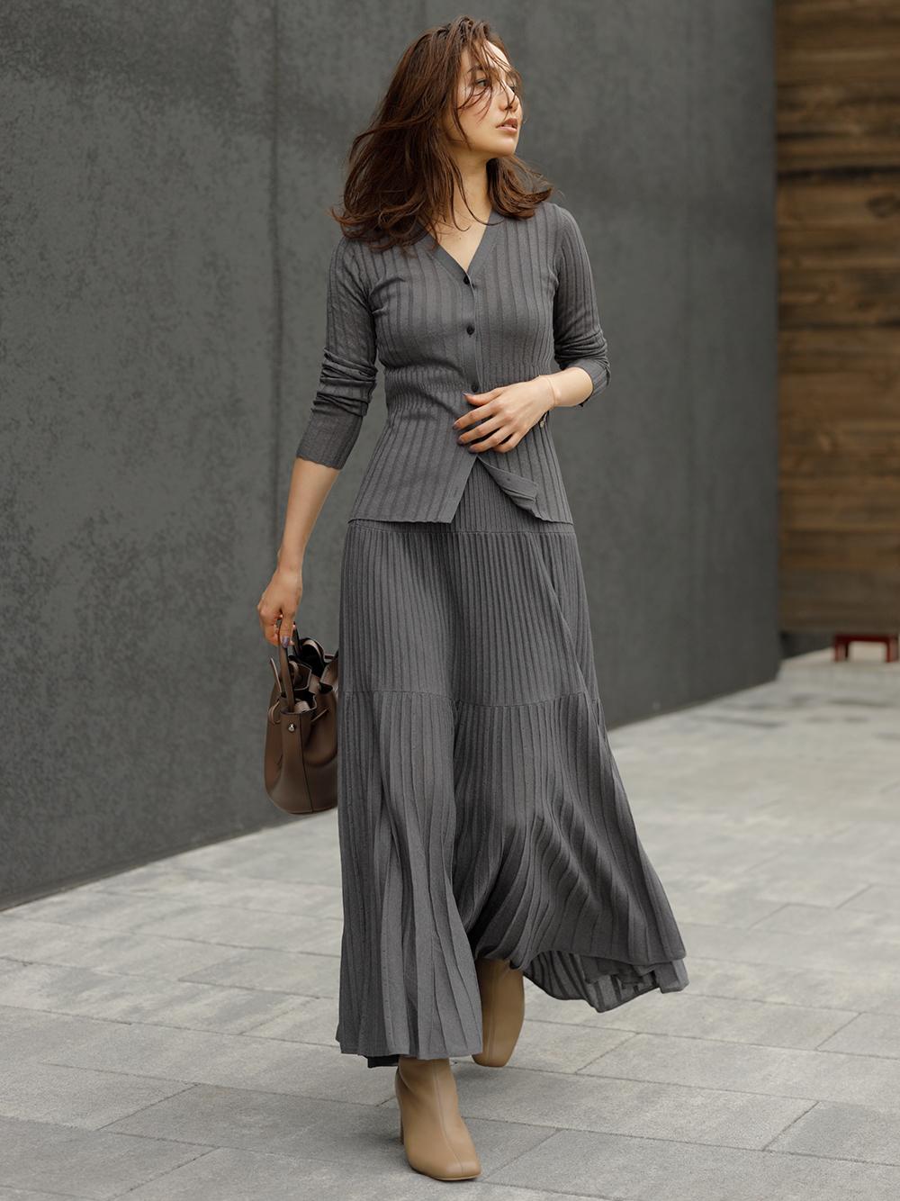 柔軟金蔥針織長裙