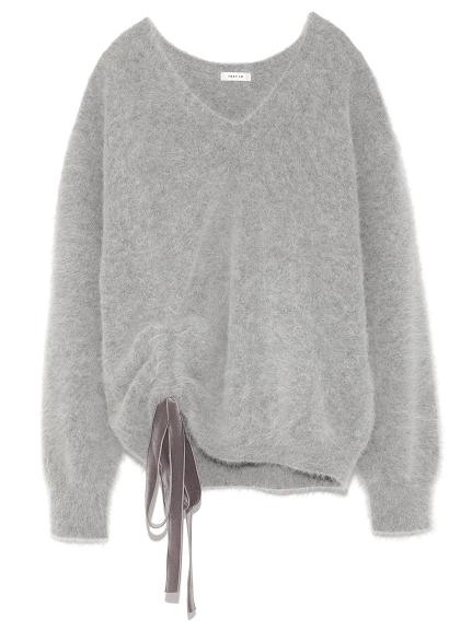 V領繫帶造型毛衣