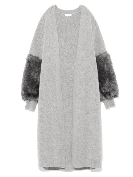 毛絨袖口造型開襟外套