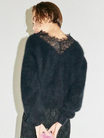 蕾絲毛料針織上衣