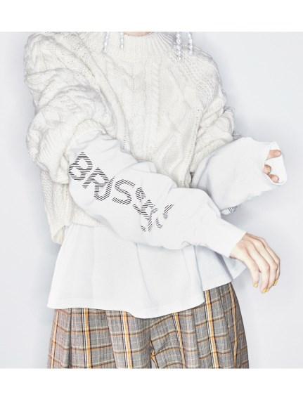 寬鬆風編織短版毛衣