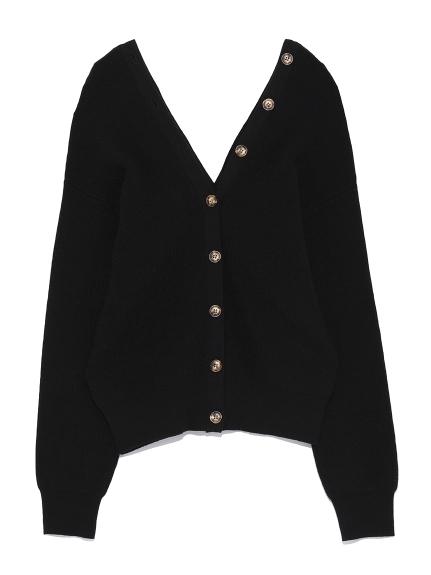 V領鈕釦設計開襟針織衫