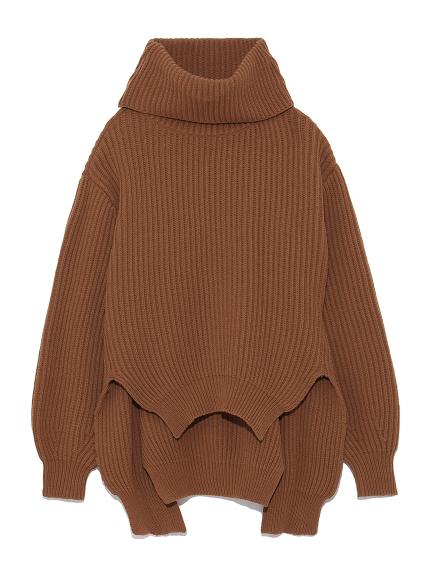 混羊毛不規則下擺高領毛衣