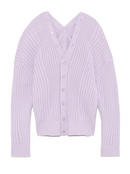 混絲綢螺紋開襟衫