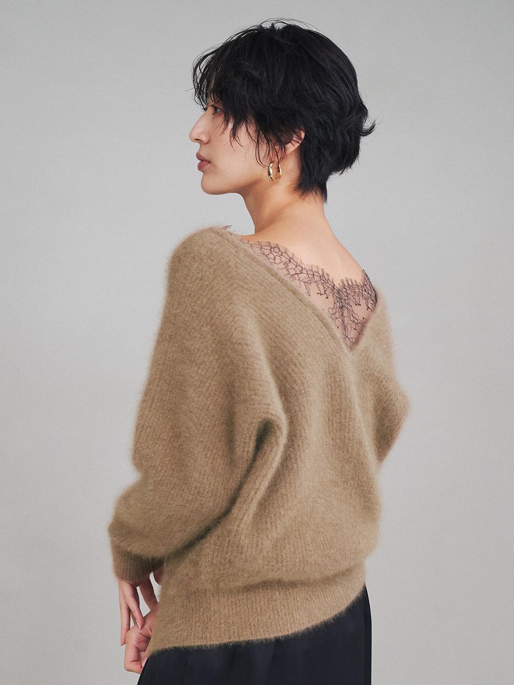 蕾絲點綴絨毛針織上衣