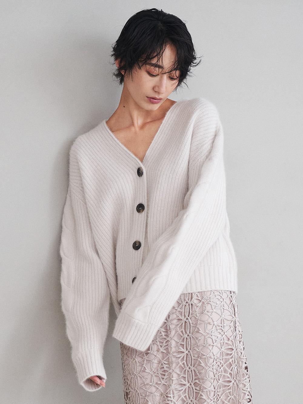 麻花羅紋針織開襟衫