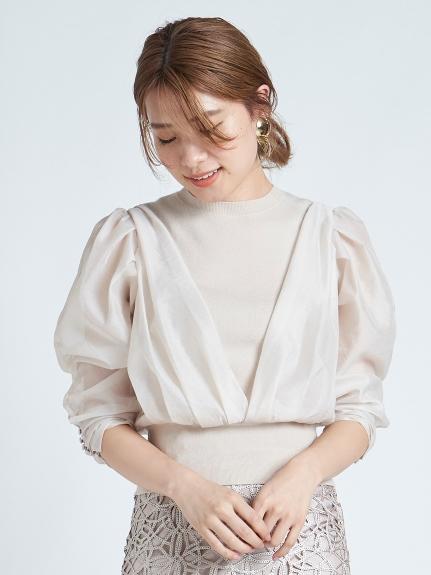 歐根紗澎袖設計感針織上衣