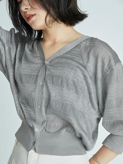 光澤感細褶針織開襟衫
