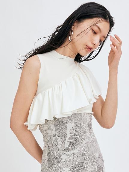 塔夫綢不對稱荷葉邊針織上衣
