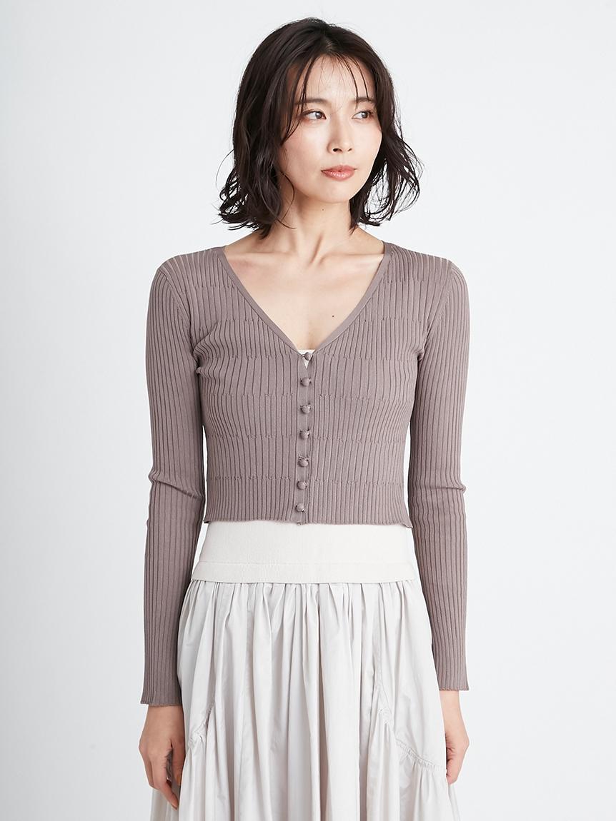 涼感短版針織開襟衫