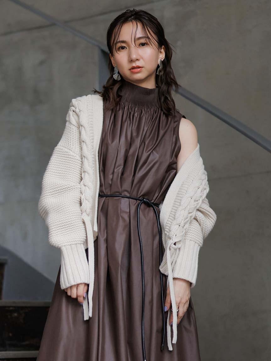 麻花編綁帶針織外套