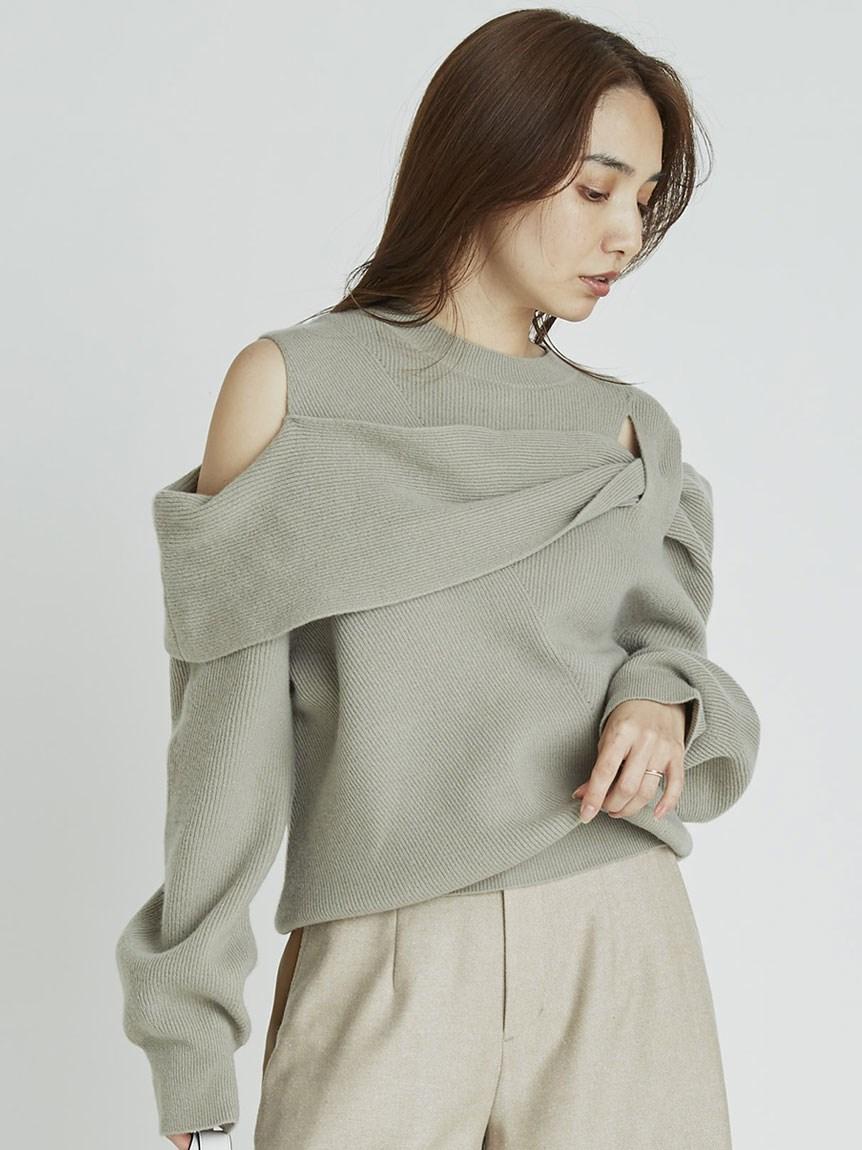 AQUA露肩設計針織上衣