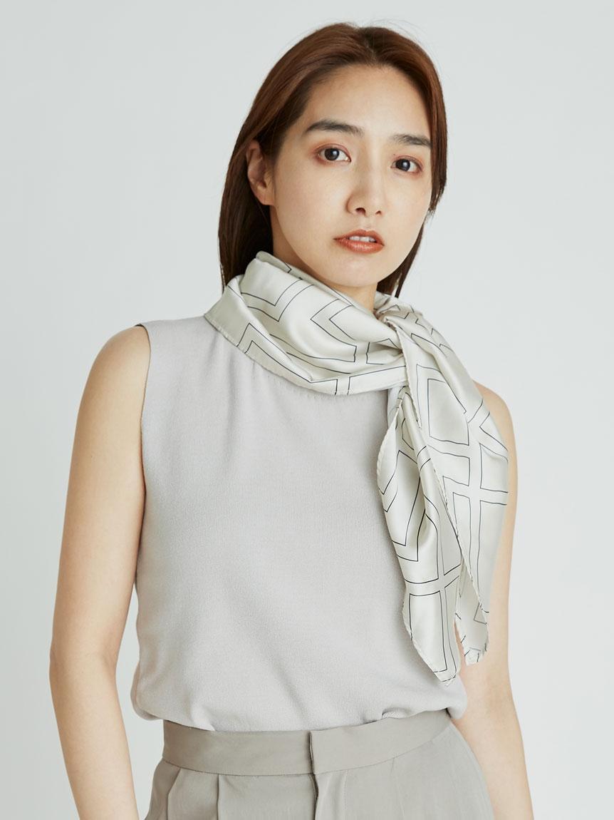 絲巾領針織上衣