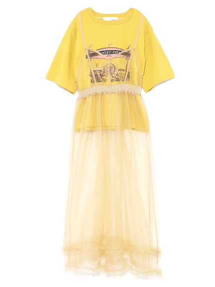 復古薄紗連衣裙T-shirt組合