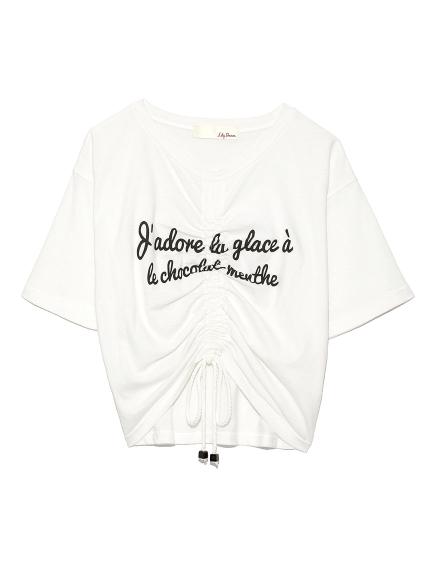 個性字母抽繩造型T-shirt