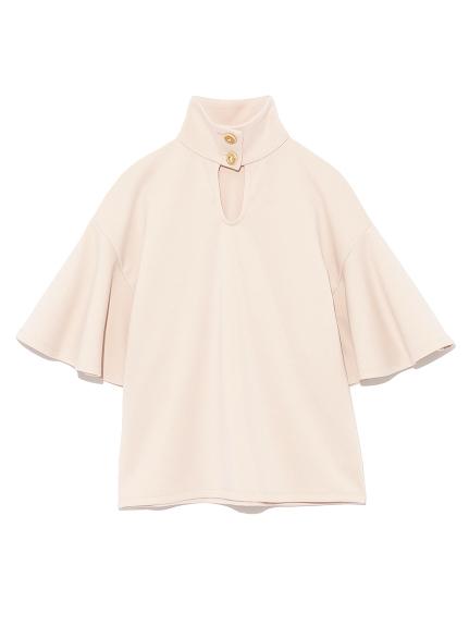 鈕釦高領剪裁上衣