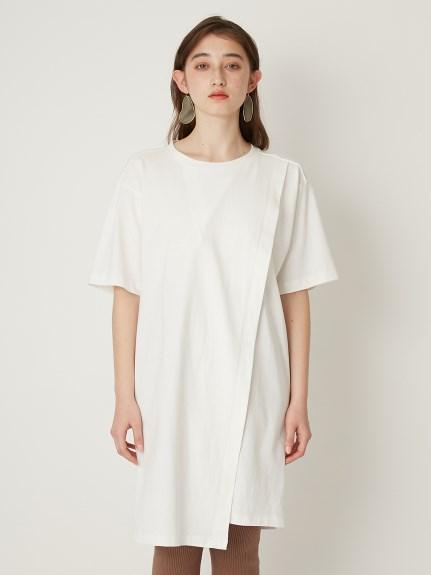 不對稱下襬寬大T-Shirt