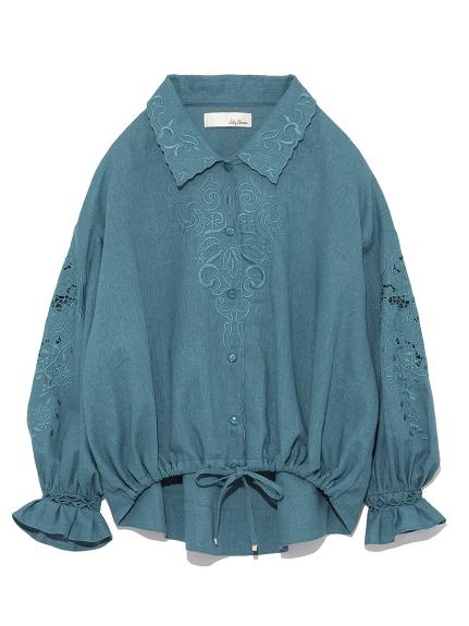 復古剪裁刺繡襯衫