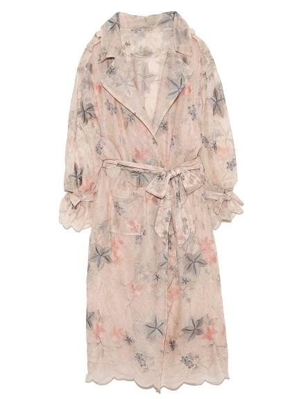 蕾絲刺繡剪裁開襟外套