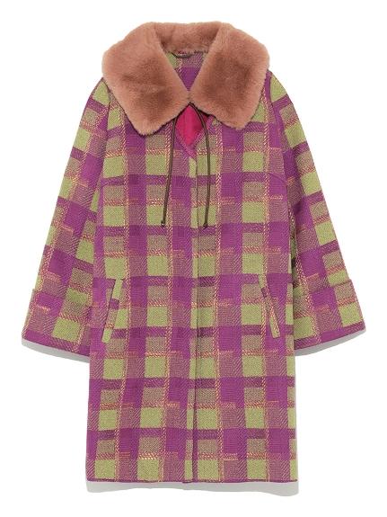 格紋毛絨衣領大衣