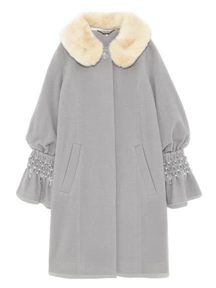 [L.B CANDY STOCK]珍珠裝飾翻領大衣