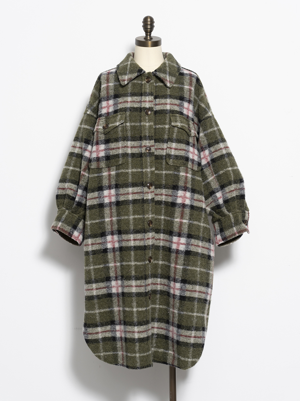 格紋襯衫式夾克大衣