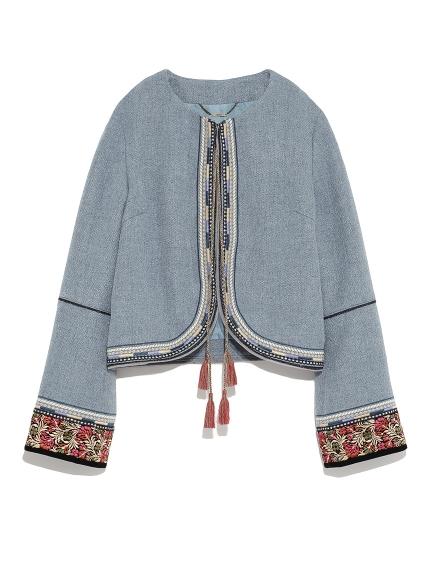 復古流蘇刺繡外套