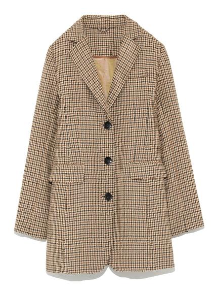 格紋長板西裝夾克