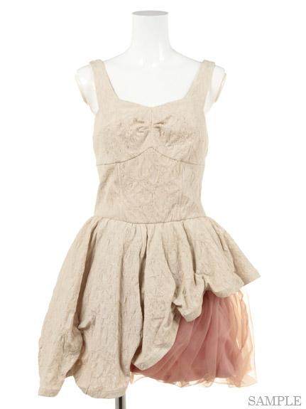 不對襯緹花拼接紗裙小禮服