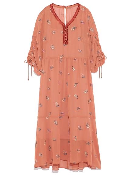 甜美花卉長版洋裝
