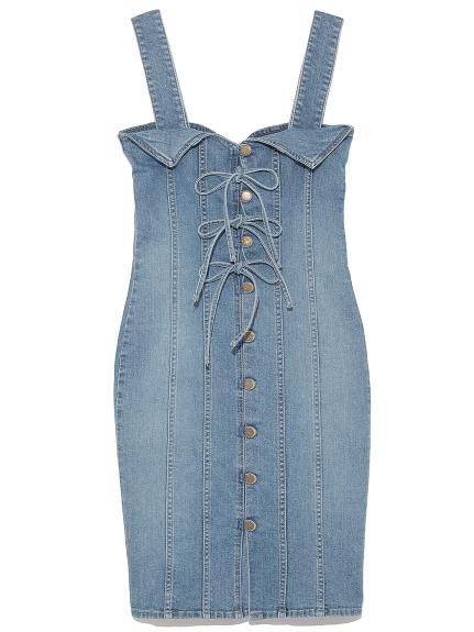 蝴蝶結排扣造型吊帶裙