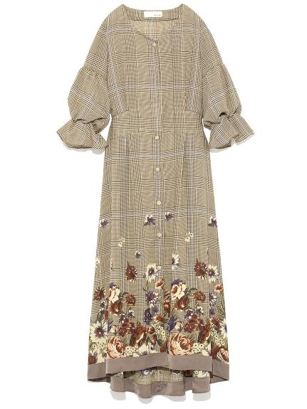 微甜復古格紋花卉洋裝