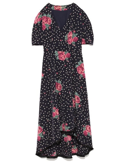 圓點玫瑰長版洋裝