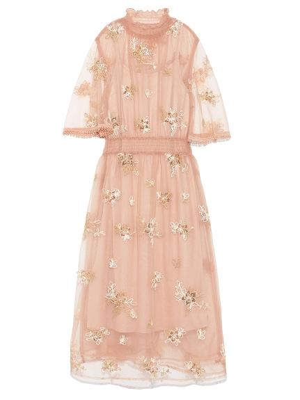 優雅花卉刺繡紗質洋裝
