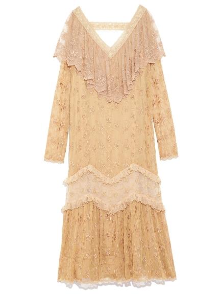 V領復古蕾絲連身裙